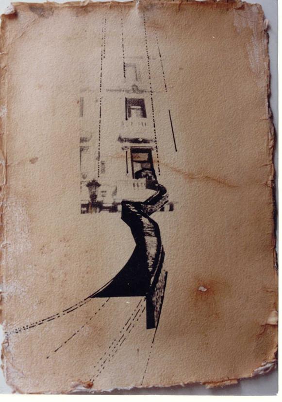 """Evocación III"". Fotocollage sobre papel tratado fotosensible. 21x 28 cm."