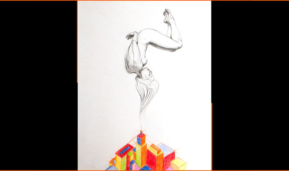 """Ahí abajo."" 39 x 29 cm. Lápices de colores sobre papel."