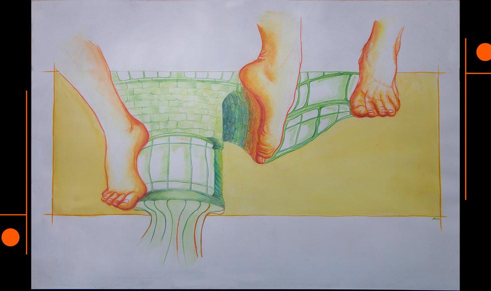 """""""Le promenade."""" 82,5 x 63 cm. Lápices de color y acuarela sobre papel."""