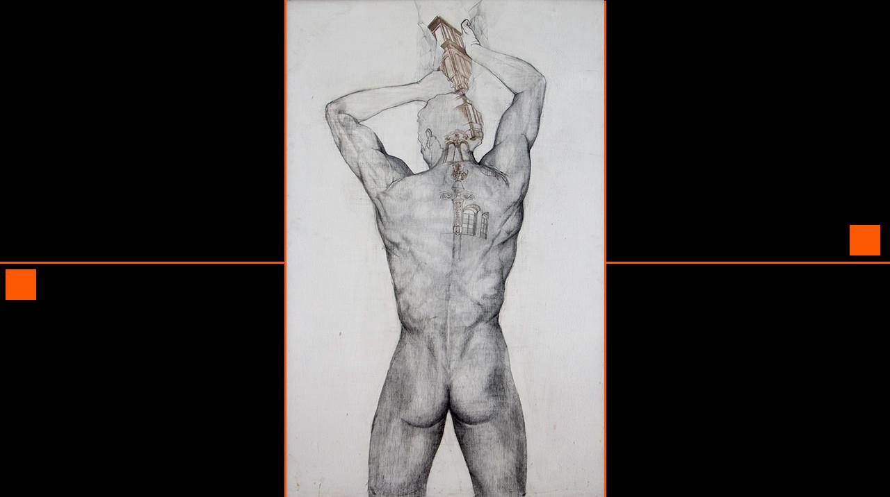 """""""Lienzo en blanco."""" 145 x 94 cm. Lápiz y punta de plata sobre imprimación manual en madera."""
