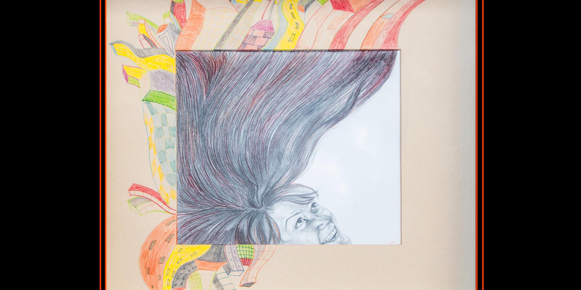 """""""Universo autorretrato"""". Lápices de color sobre papel y paspartú. 48,5x 48,5 cm"""