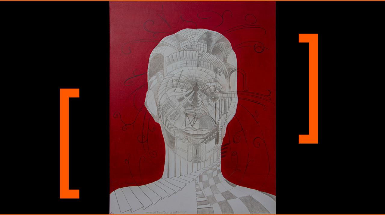 """""""Arquitectura interior."""" 116 x 90 cm. Óleo y punta de plata y plomo sobre lienzo."""