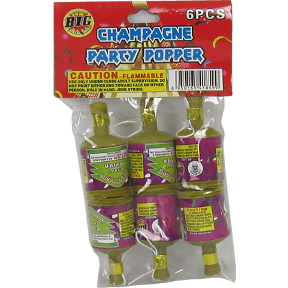 Champagne Party Poppers 6 Pack
