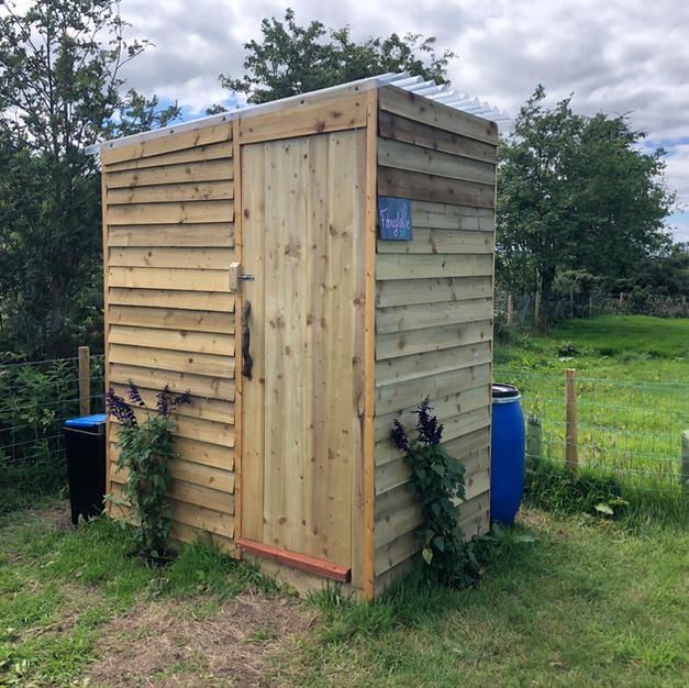 Compost toilet on pitch