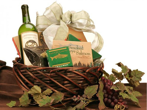Wine, Salmon and Cheese Basket