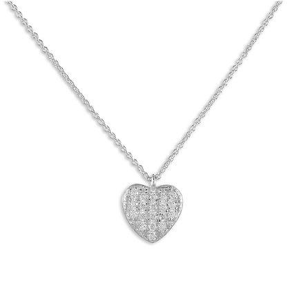 Collier Herz mit 19 Zirkonia 925 Silber