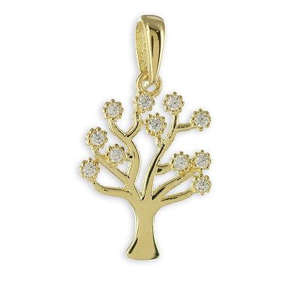 Anhänger Lebensbaum mit 11 Zirkonia Echt Gold 333/000