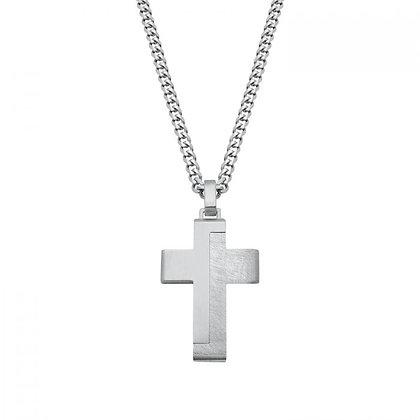 Halskette mit Kreuz, Edelstahl