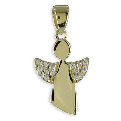 Anhänger Engel mit 15 Zirkonia Gold 333/000