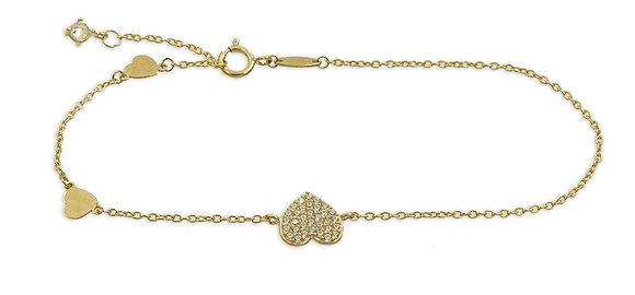 Armband 3 Herzen mit 34 Zirkonia Gold 333