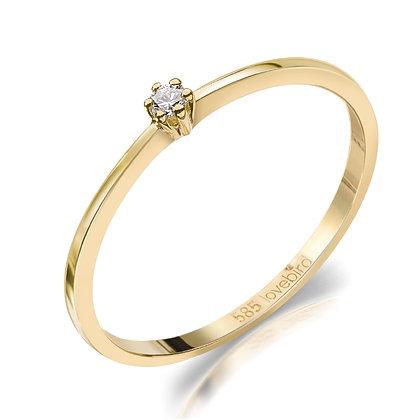 Goldring mit Brillant  0,03ct Weißgold  585/14 Karat