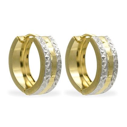 Klappcreolen 13/5mm 2-farbig diamantiert Gold 333/000
