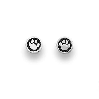 """Dur Ohrstecker Hundepfoten ,, Lucky Dog"""" Lavasand Silber 925/rhod."""