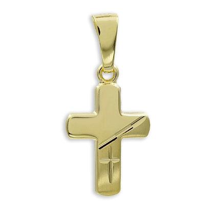 Kreuzanhänger teilmatt/diamantiert Gold 333/000