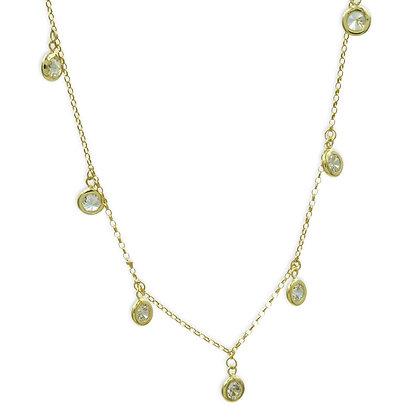 Collier mit 7 Zirkonia vergoldet Silber 925