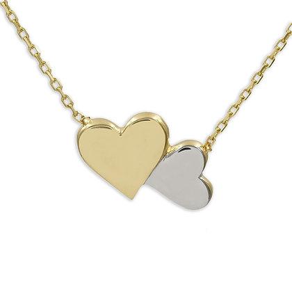 Collier mit 2 Herzen, Bicolor Gold 333