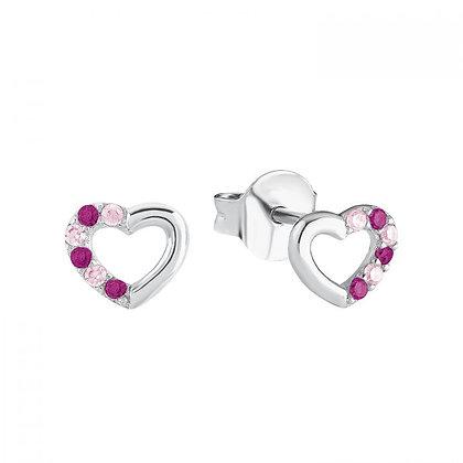 Ohrstecker Herz pink, 925 Sterling Silber