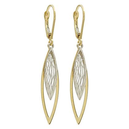 Ohrhänger 2-farbig diamantiert Gold 333