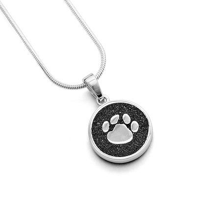 "Dur Anhänger Hundepfote ,, Lucky Dog"" Lavasand Silber 925/rhod."