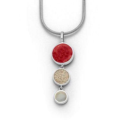 Dur Anhänger Koralle, Strandsand, Perlmut Silber 925/rhodiniert