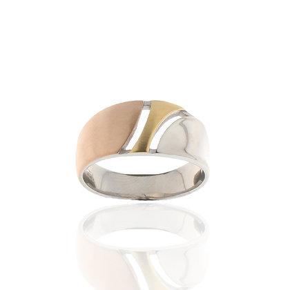 Ring Edelstahl Tricolor vergoldet
