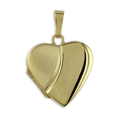 Medaillon Herz teilmattiert -333 Gold