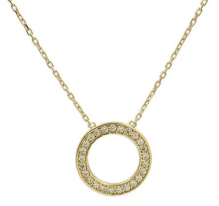 Collier Circle of Life mit 25 Zirkonia, Gold 333