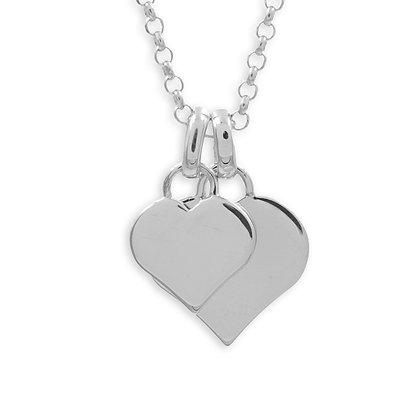 Collier mit 2 Gravurplatten Herz Silber 925/000