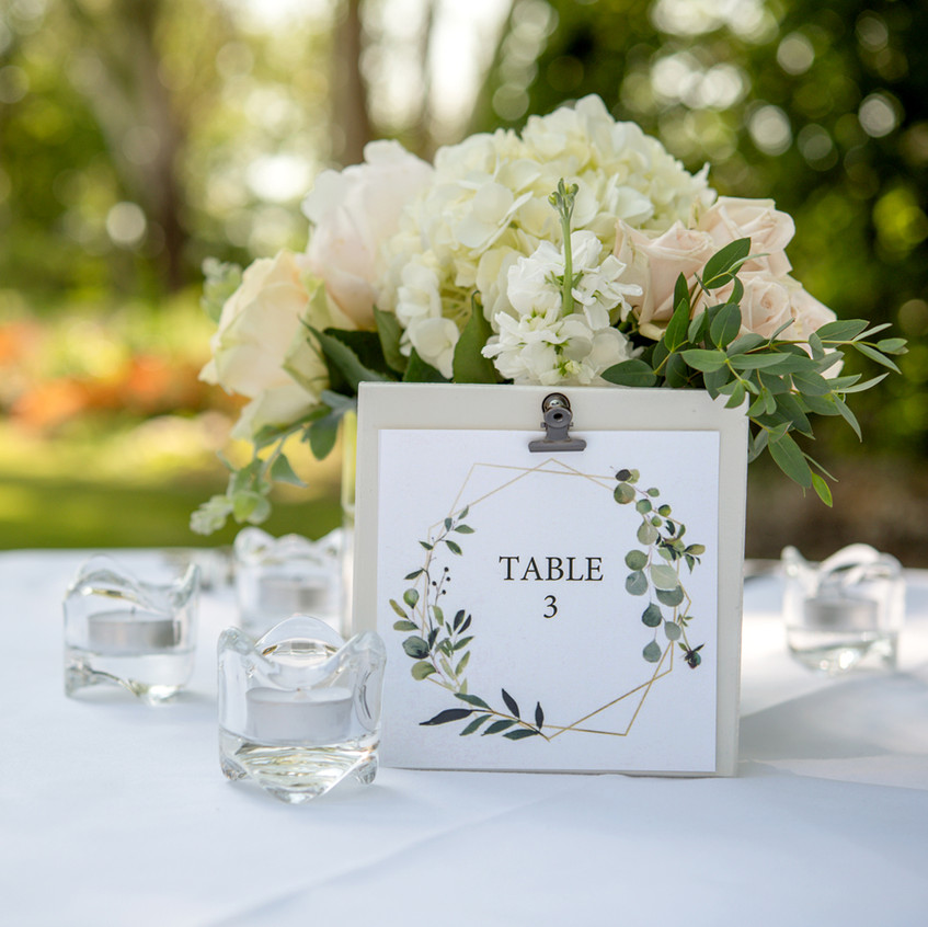 Table Decorations for small backyard wedding