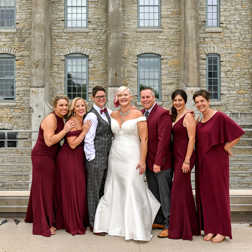 Wedding Couple with Wedding Party LGBTQ Wedding Photography