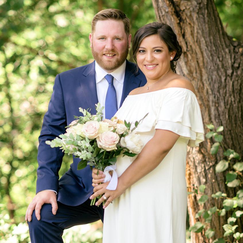 Bride and Groom have small backyard wedding