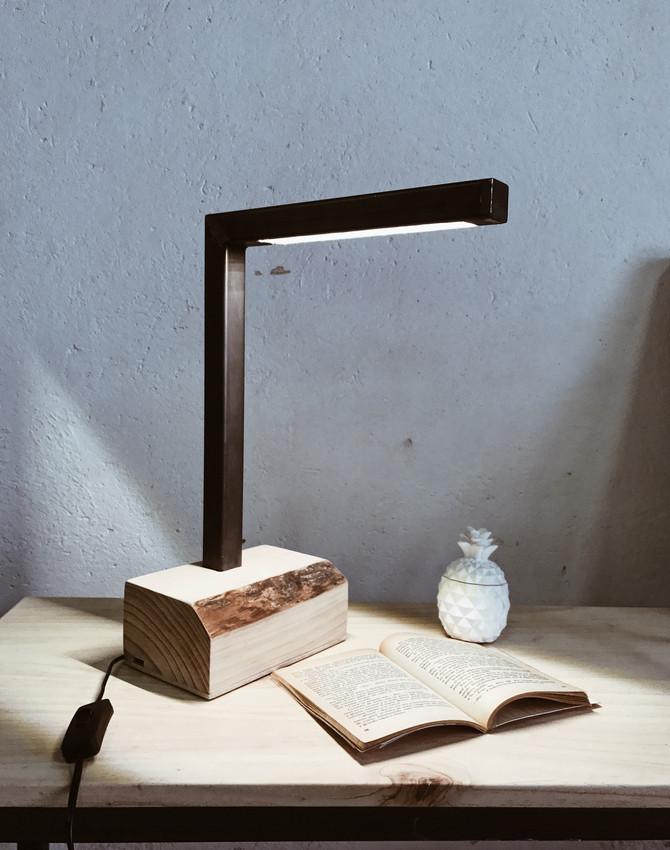 Lámpara madera & hierro
