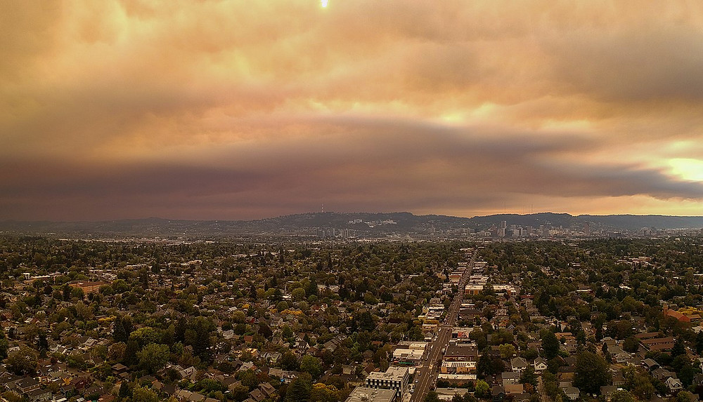 wildfire smoke over Portland, OR (Sept. 9, 2020).