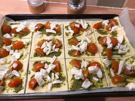 Puff Pastry Pesto Pizza Slices
