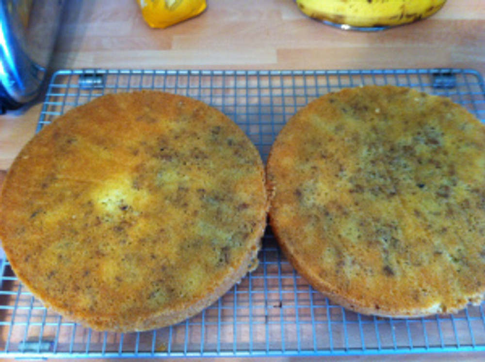 Here are the two Walnut Cakes turned out to cool on the wire rack.