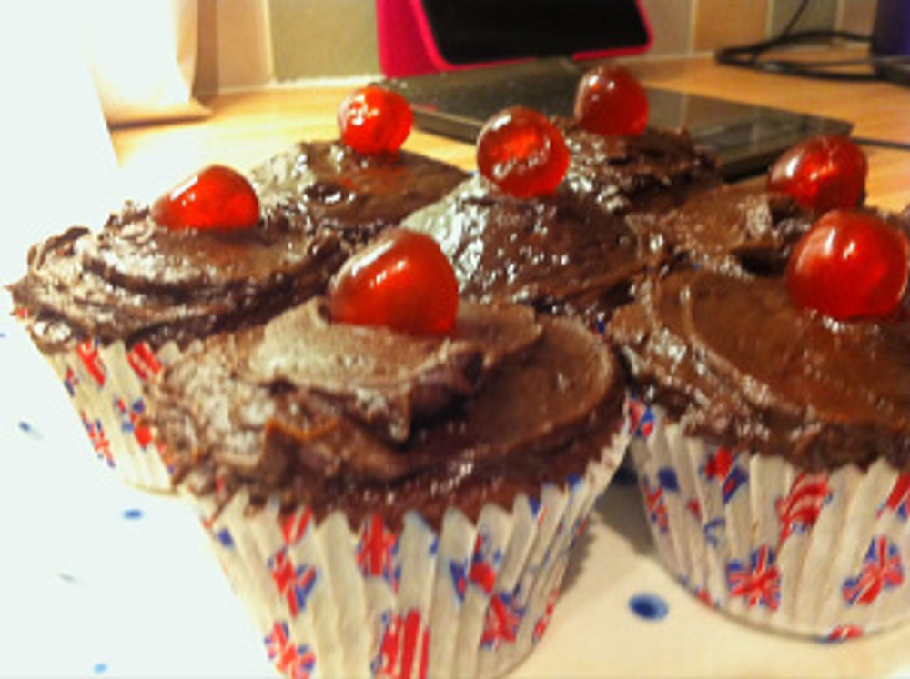 """Nigella's chocolate cherry cupcakes as baked from her recipe in """"How To Be A Domestic Goddess"""""""