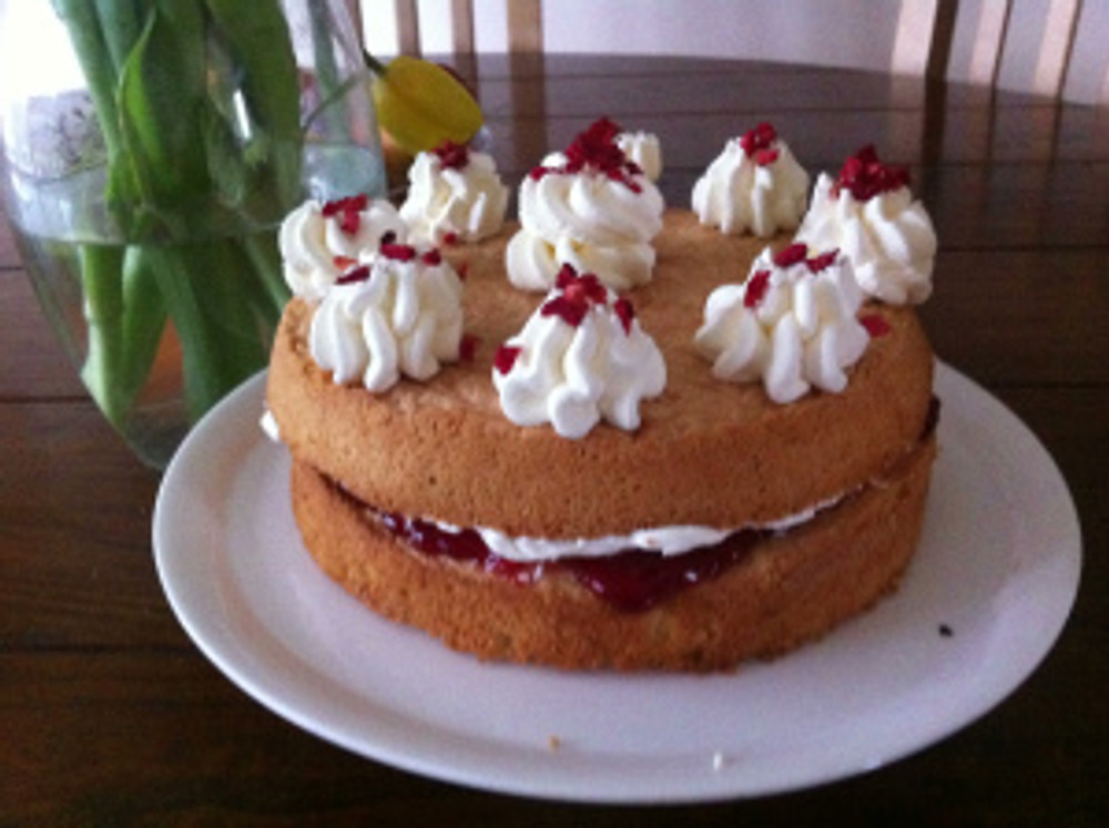 The cake all finished and waiting to be dived into!