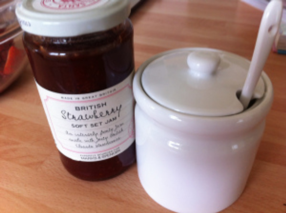 An end of term gift from one of the families at work, a jam pot with delicious strawberry jam from Marks and Spencer.