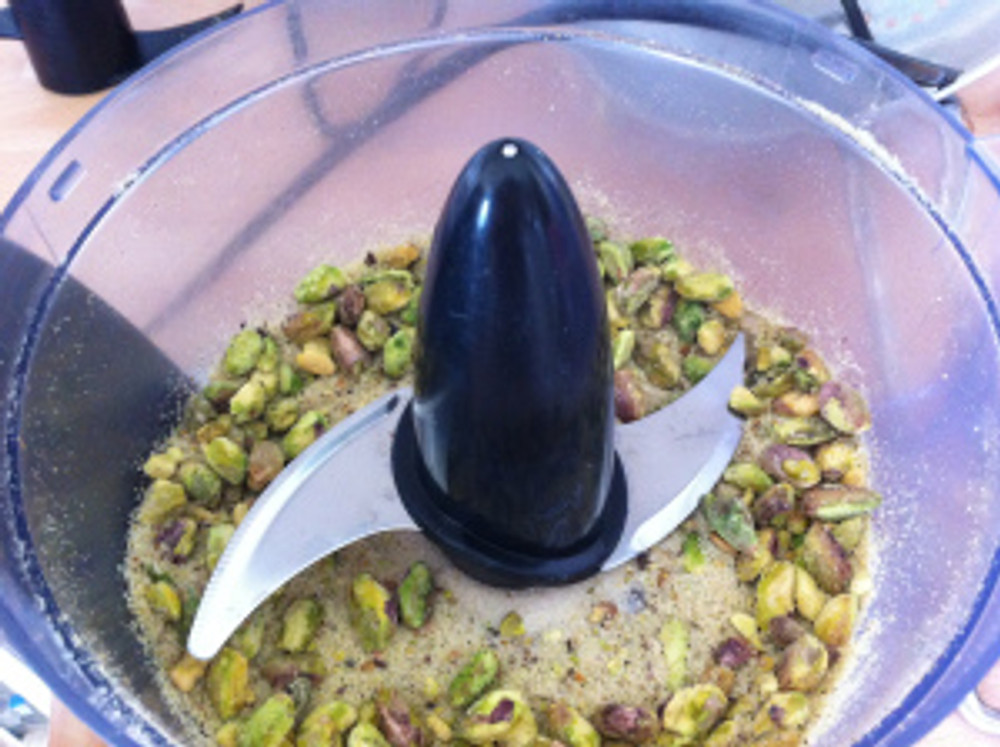 The pistachio nuts are ground up in my food processor.
