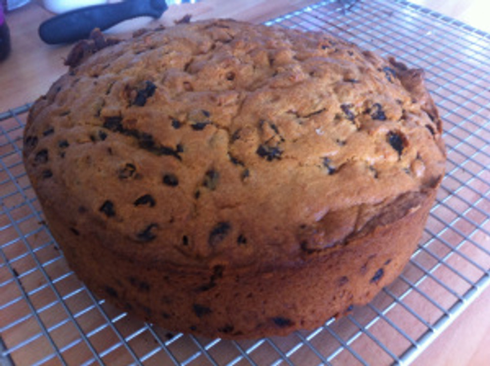Delicious! Here is the finished Cut and Come Again Cake cooling on a wire rack.