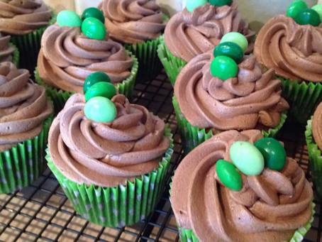 Mint Chocolate M&M Cupcakes.