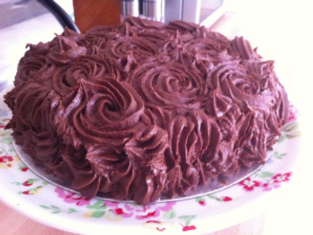 Coconut and Chocolate Stripy Rose Cake