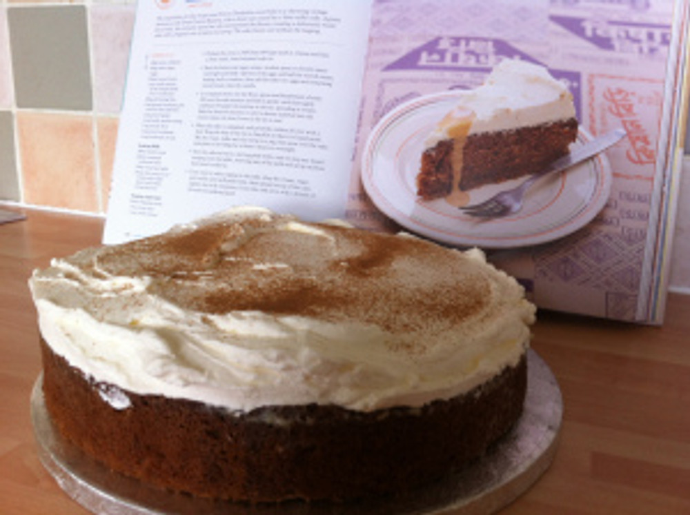 Here is my version of the Choo Choo Chai Cake with the real version photographed in the book behind!