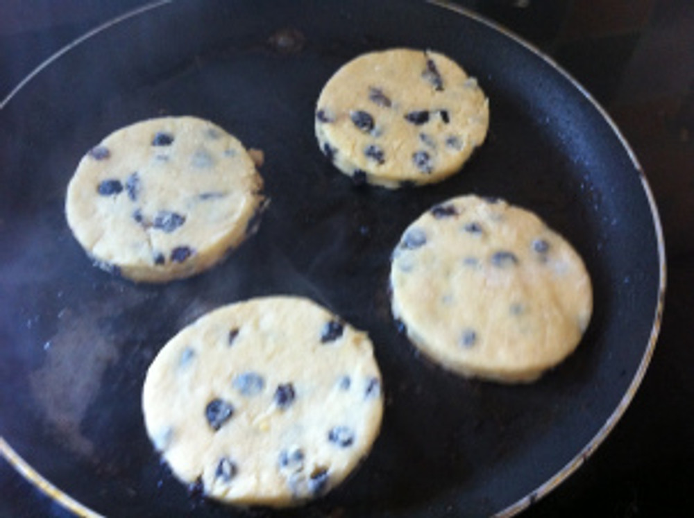 """Singing Hinnies """"singing"""" away in the griddle pan.  They contained currants and were absolutely delicious!"""