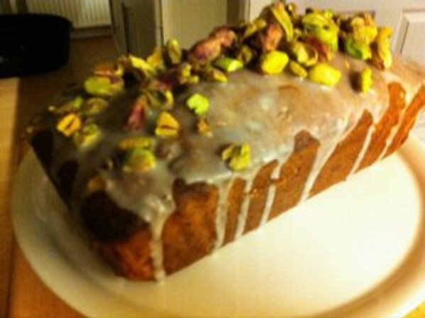 Pistachio Loaf cake as baked from the second Hummingbird Bakery recipe book.