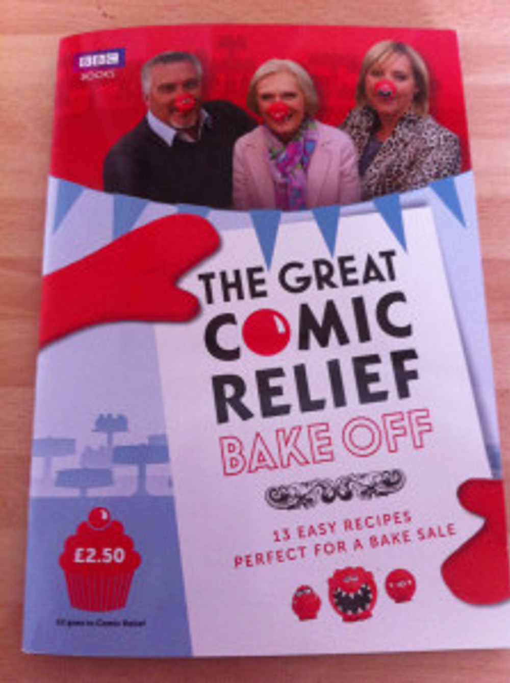The Great Comic Relief Bake Off Book. Cost £2.50 with at least £2 going to Comic Relief.
