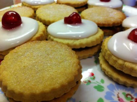 Cherry Bakewell Jam Sandwich Shortbread Cookies