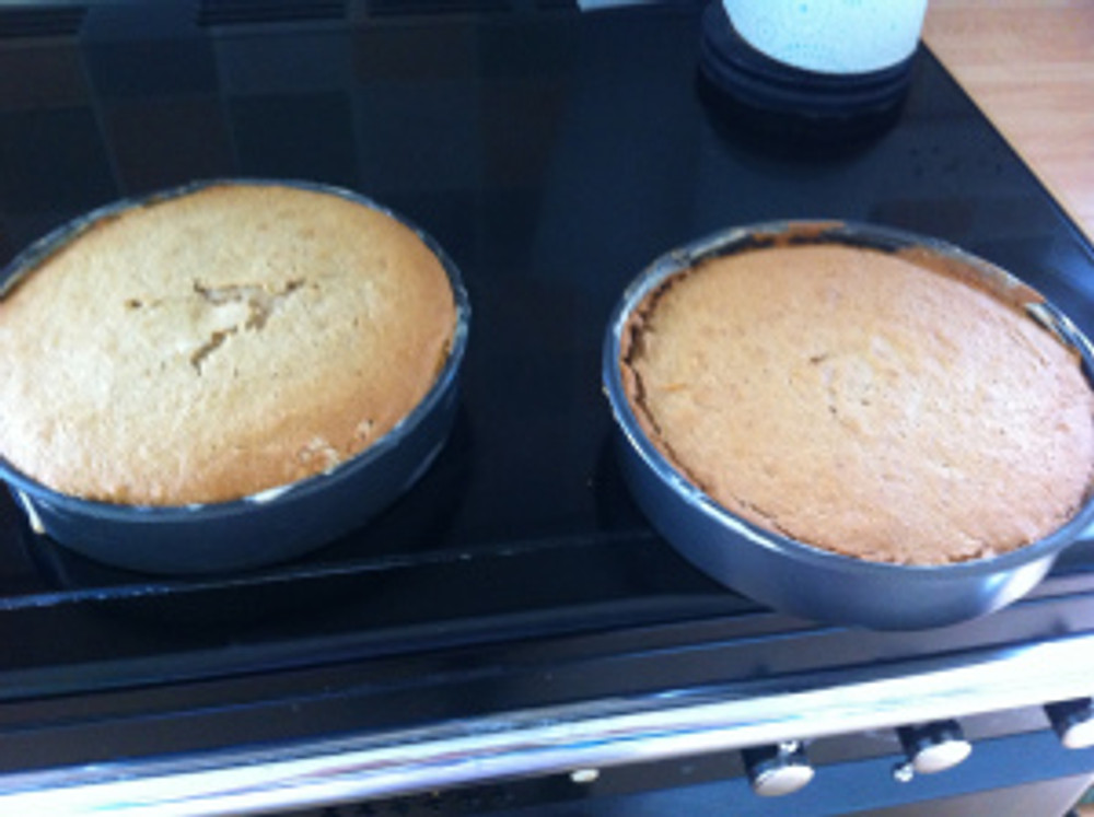 Two out of three layers of apple cake!