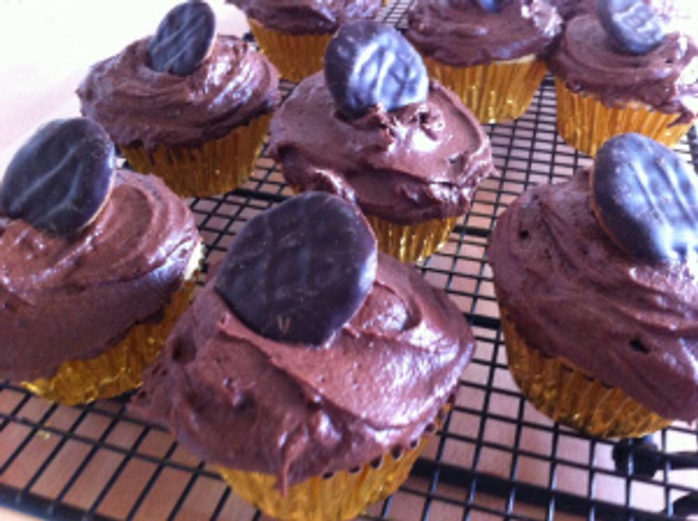 The finished Jaffa Cake Cupcakes.