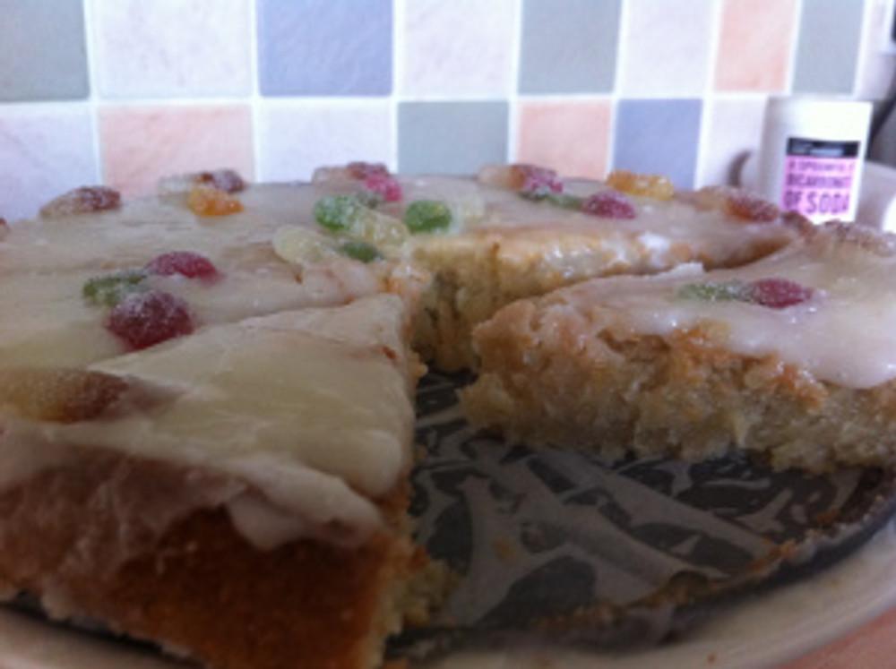 The Lemony Lemonade cake cut up ready to be scoffed up!